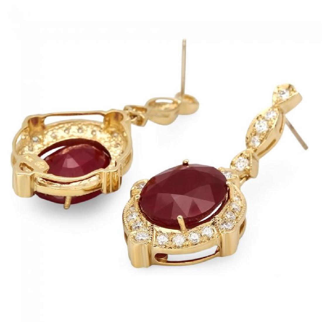 14k Gold 22.50ct Ruby 1.70ct Diamond Earrings - 2