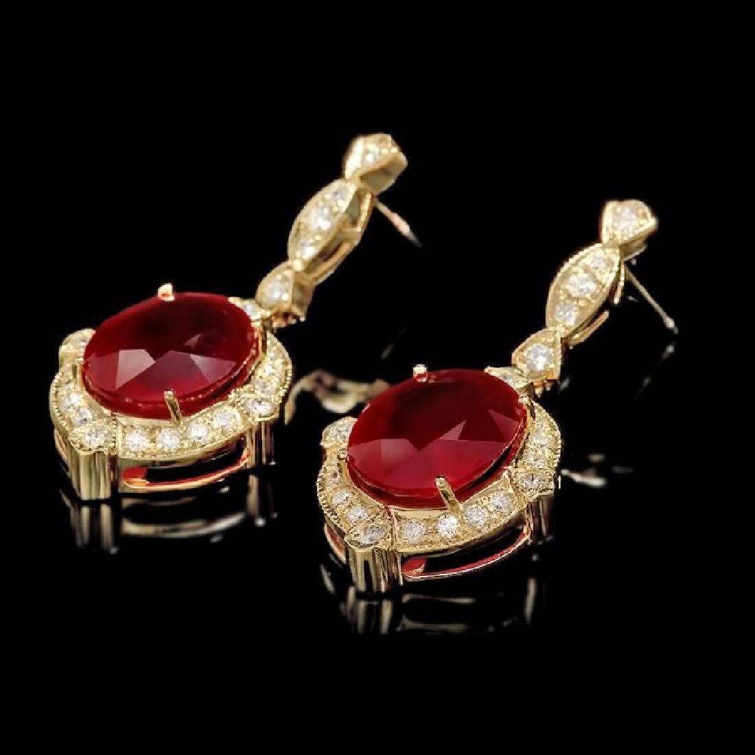 14k Gold 22.50ct Ruby 1.70ct Diamond Earrings - 3