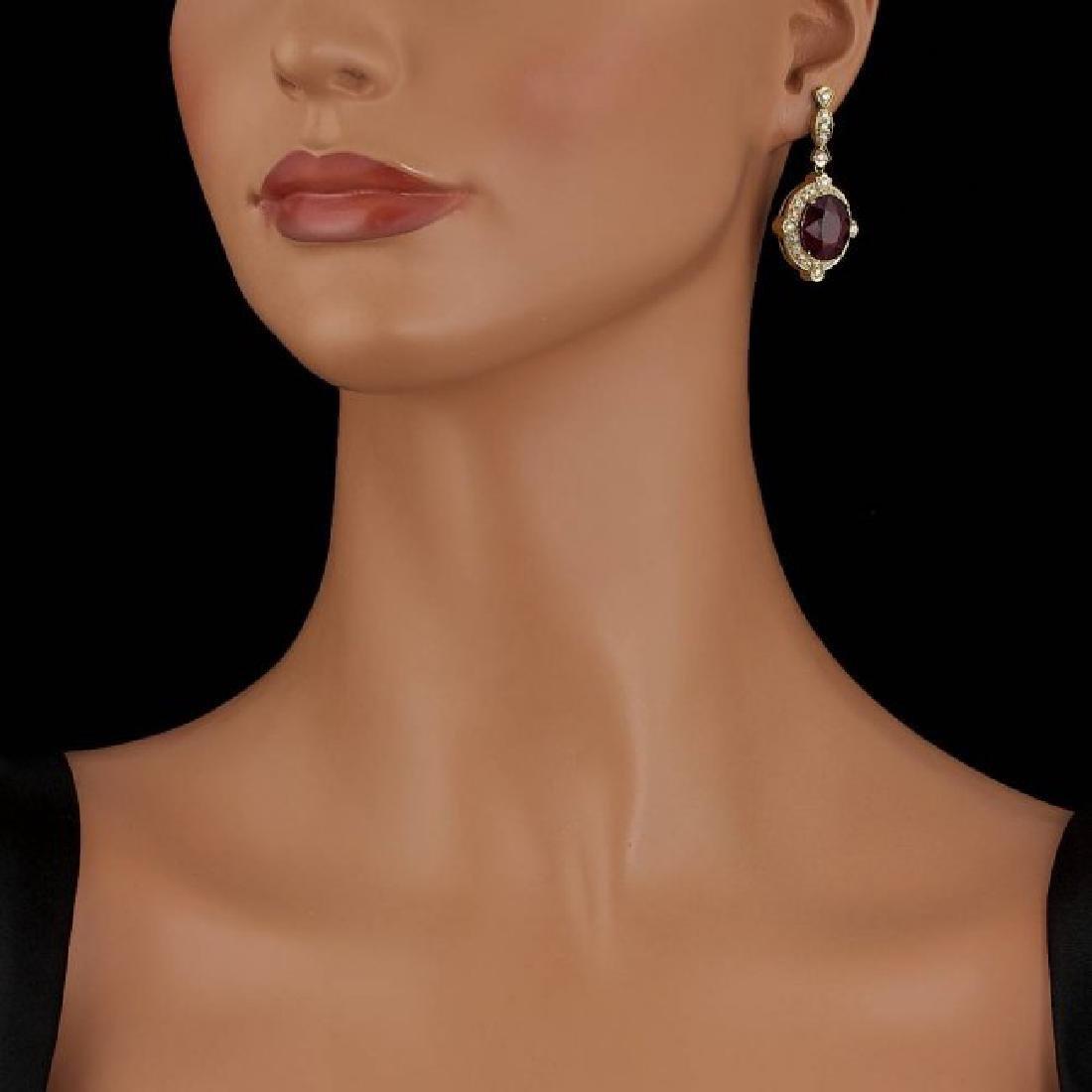 14k Gold 22.50ct Ruby 1.70ct Diamond Earrings - 4