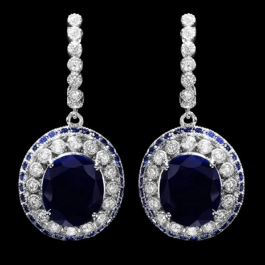 14k Gold 14.7ct Sapphire 1ct Diamond Earrings