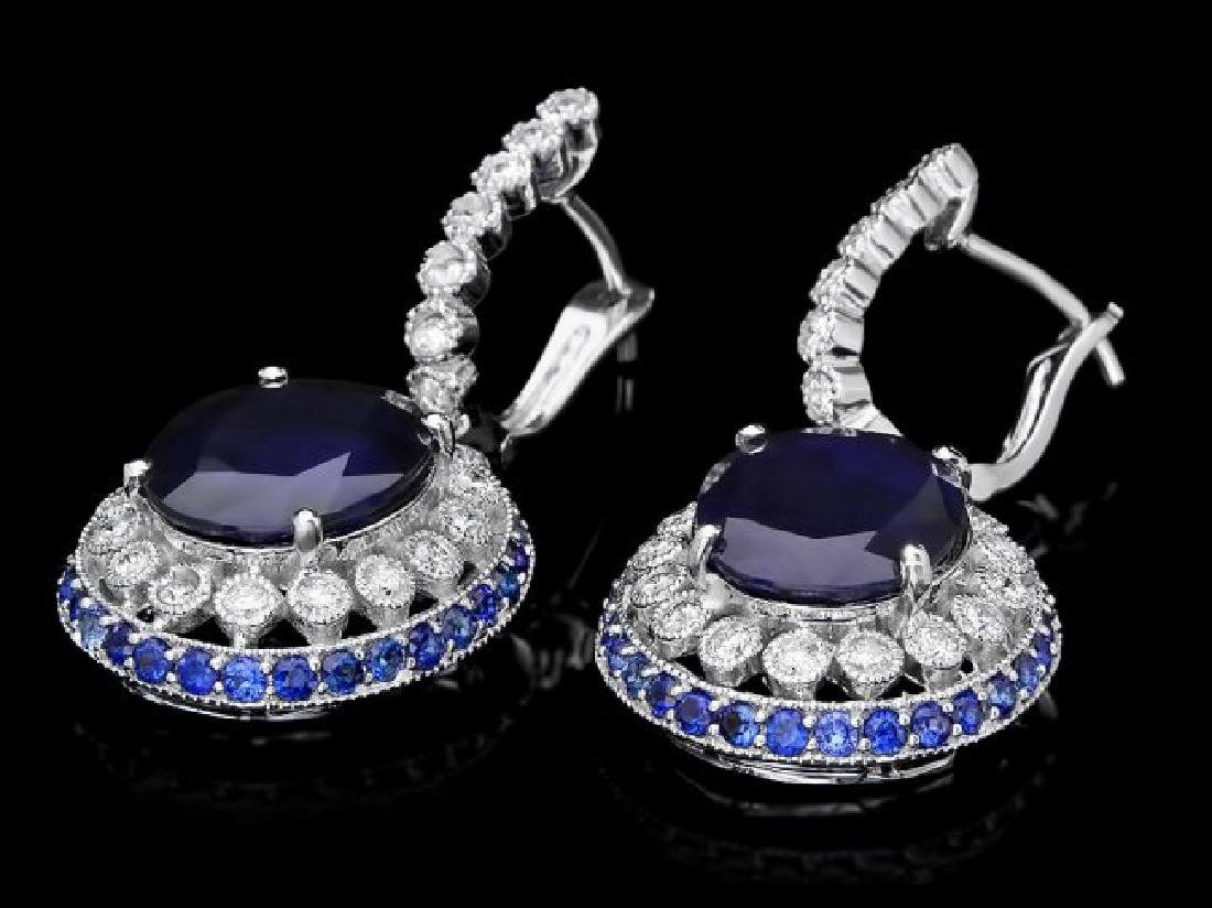 14k Gold 14.7ct Sapphire 1ct Diamond Earrings - 2