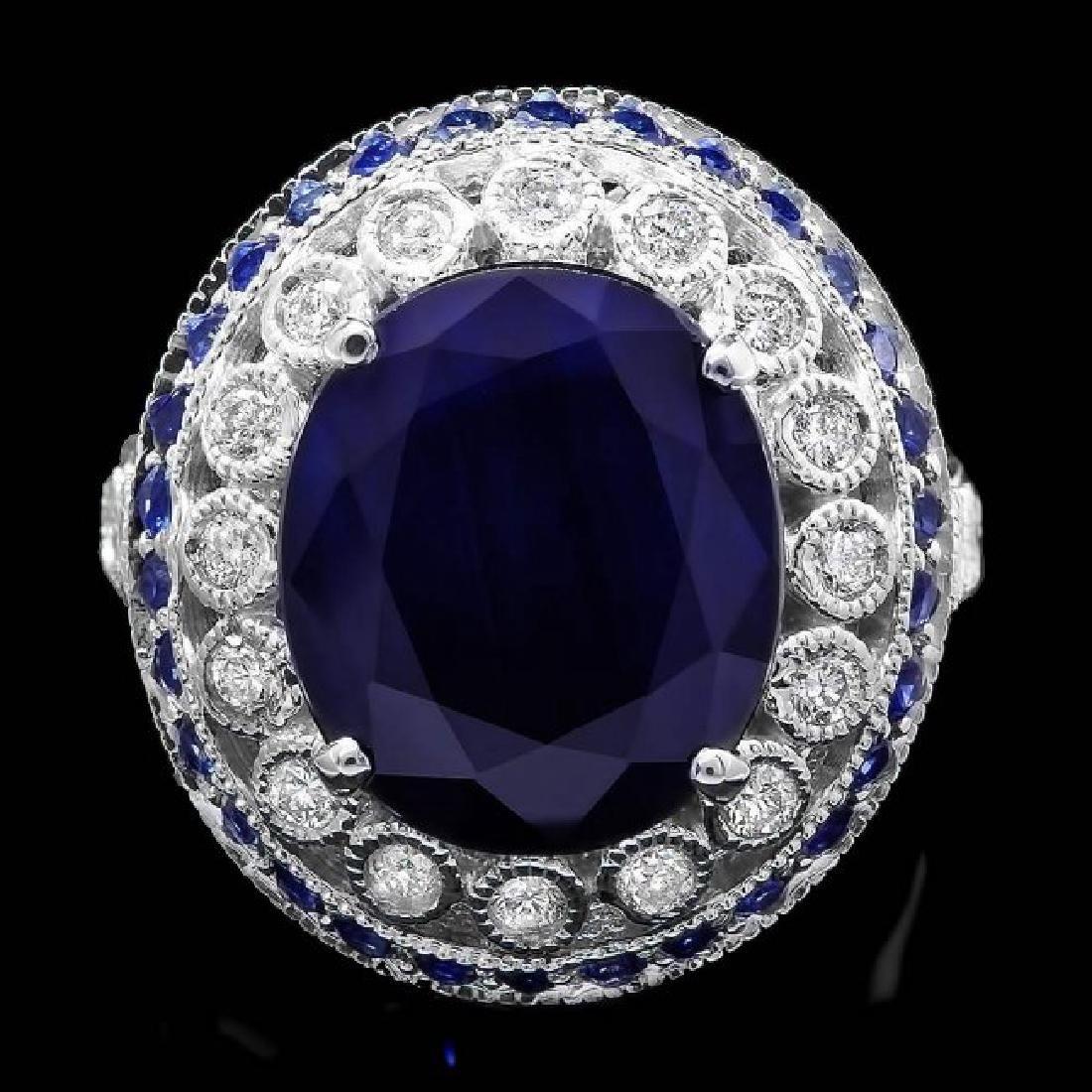 14k Gold 9.35ct Sapphire 0.55ct Diamond Ring