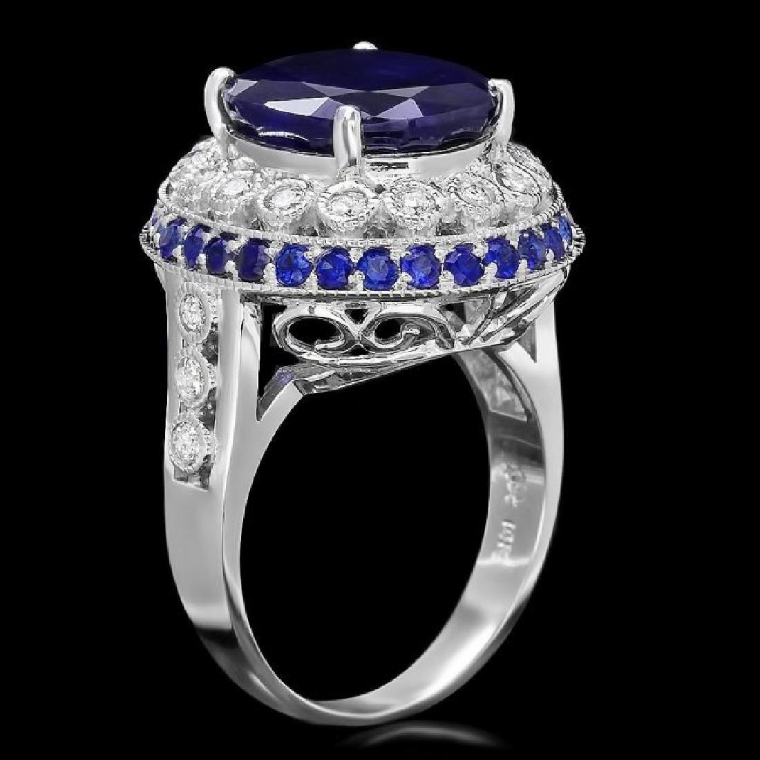 14k Gold 9.35ct Sapphire 0.55ct Diamond Ring - 2