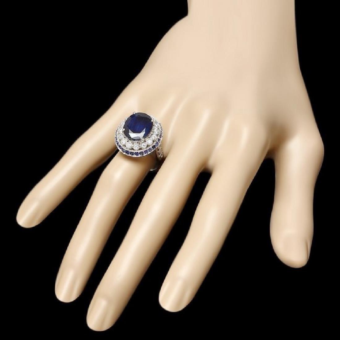 14k Gold 9.35ct Sapphire 0.55ct Diamond Ring - 3
