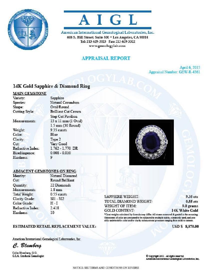 14k Gold 9.35ct Sapphire 0.55ct Diamond Ring - 4