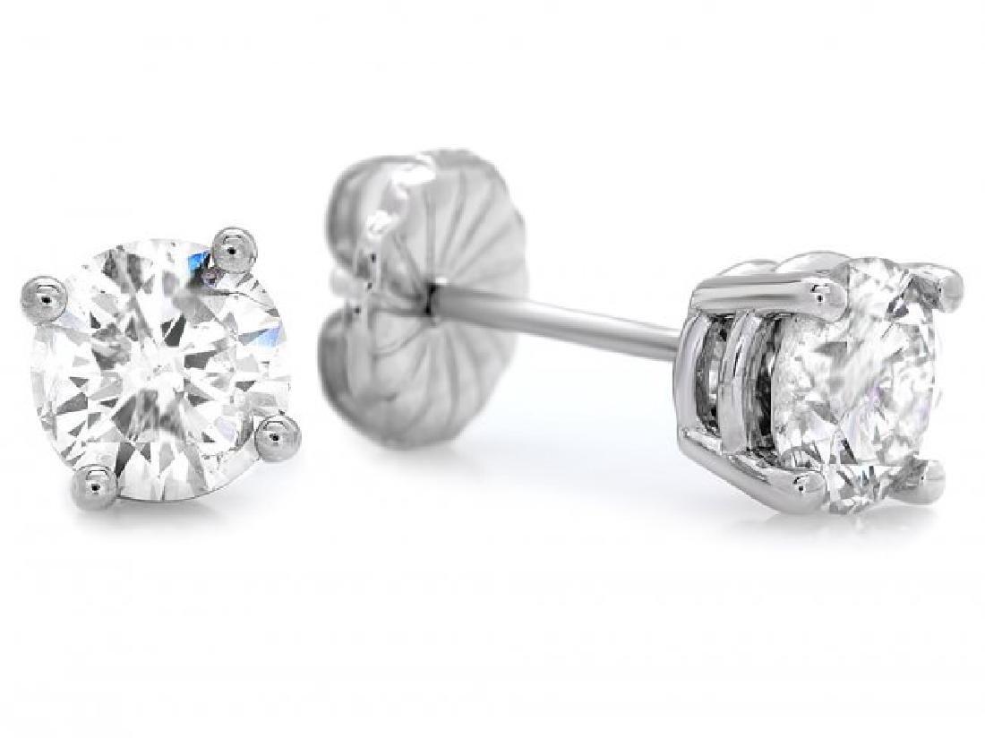 14k White Gold 1.60ct Diamond Earrings - 2