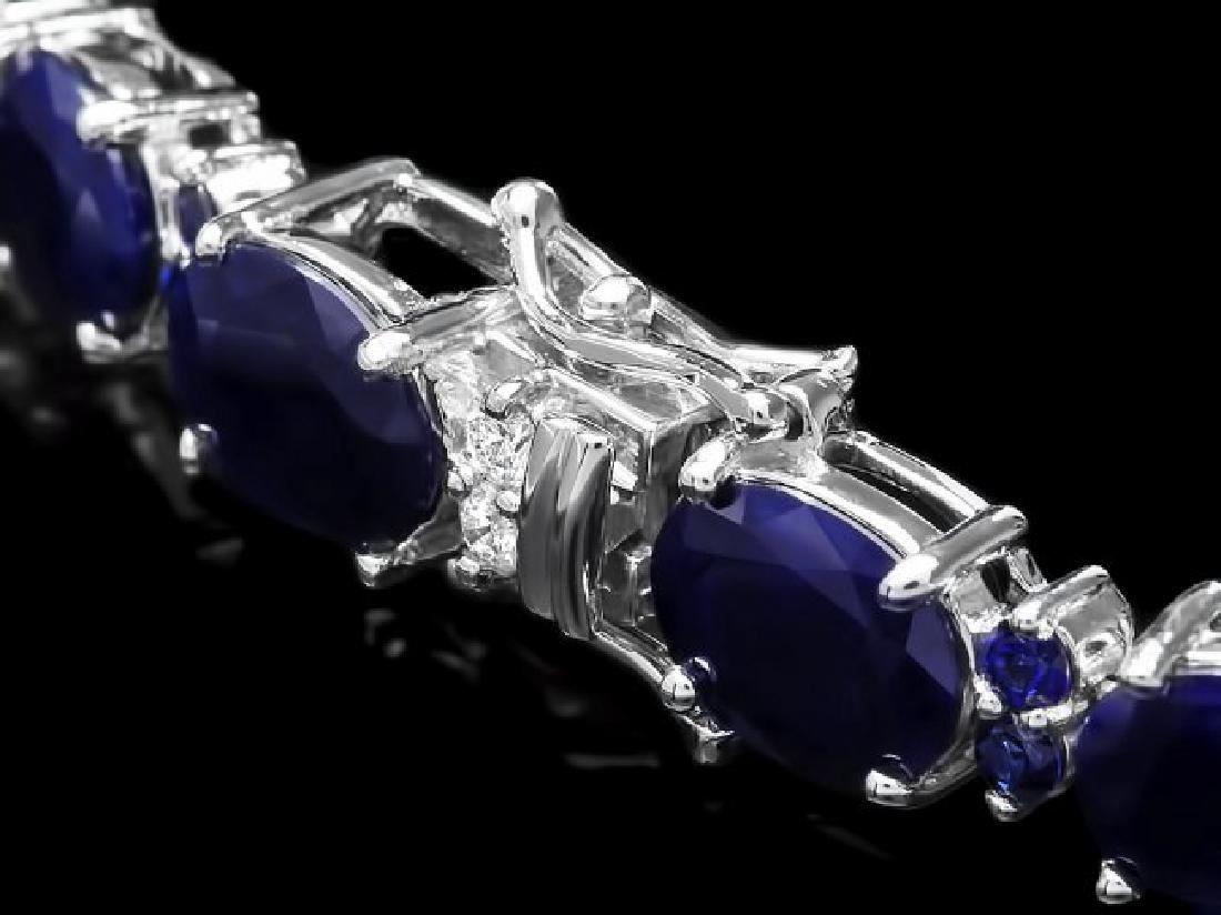 14k Gold 35.8ct Sapphire 0.75ct Diamond Bracelet - 3