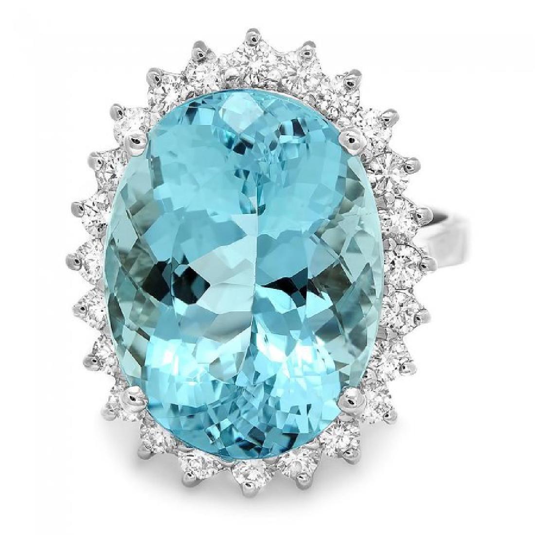 18k Gold 13ct Aquamarine 0.90ct Diamond Ring - 2
