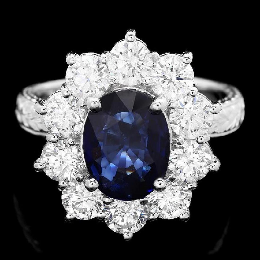 18k Gold 2.10ct Sapphire 2.10ct Diamond Ring