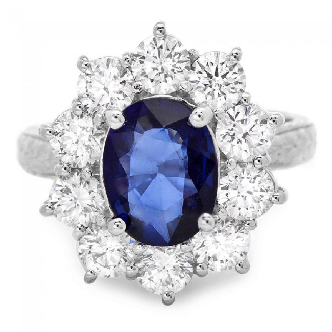 18k Gold 2.10ct Sapphire 2.10ct Diamond Ring - 2