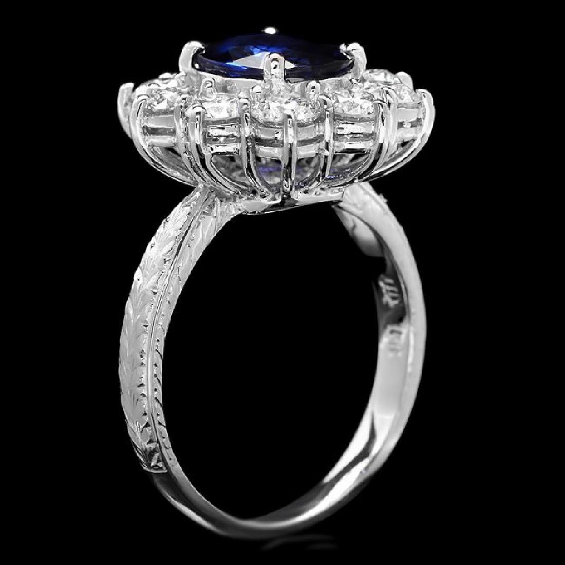 18k Gold 2.10ct Sapphire 2.10ct Diamond Ring - 3