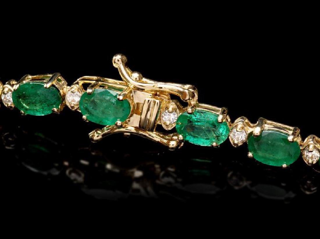14k Gold 11ct Emerald 0.65ct Diamond Bracelet - 2