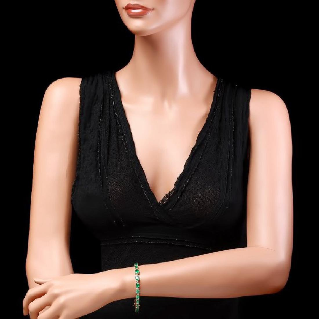 14k Gold 11ct Emerald 0.65ct Diamond Bracelet - 4