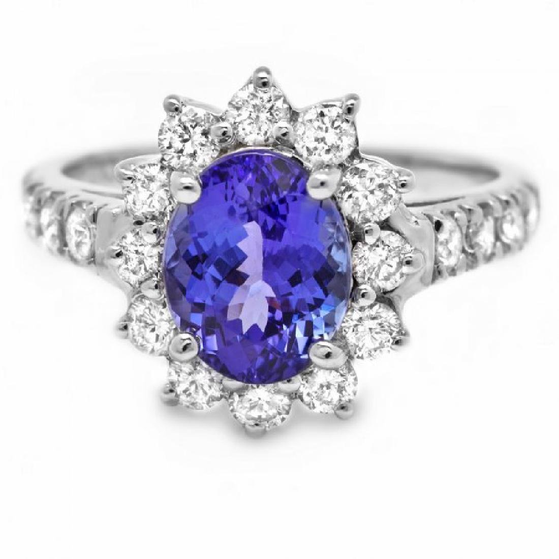 14k Gold 2.20ct Tanzanite 1.00ct Diamond Ring - 2