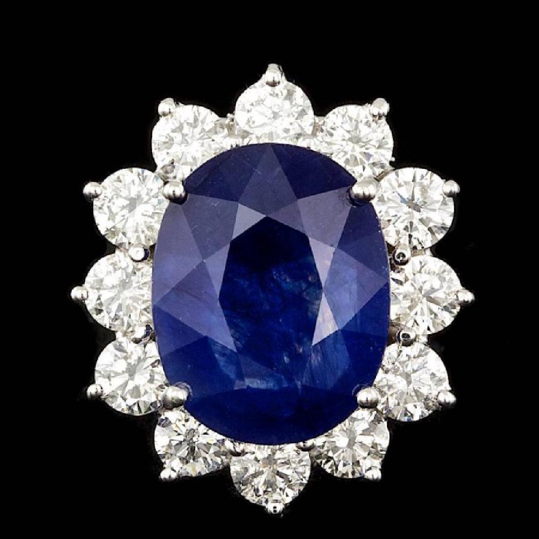 14k Gold 8.50ct Sapphire 2.50ct Diamond Ring