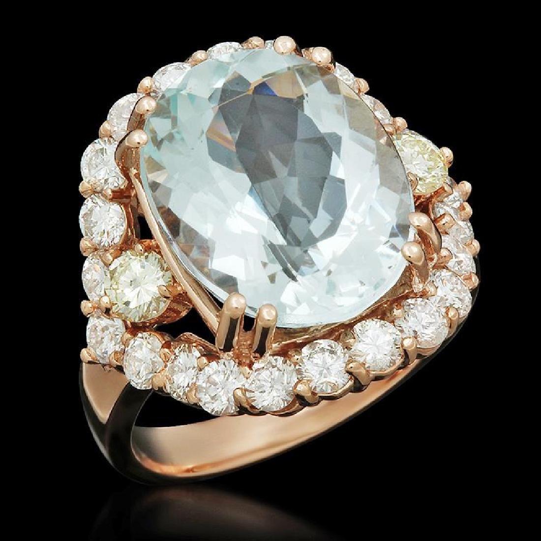 14K Gold 8.00ct Aquamarine 2.05ct Diamond Ring