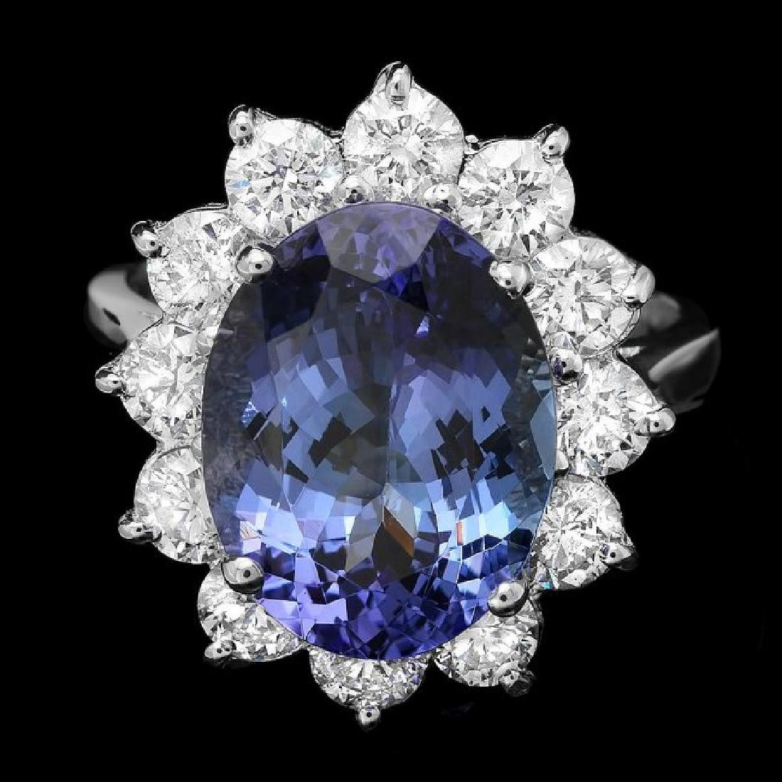 14k Gold 6.50ct Tanzanite 2.00ct Diamond Ring