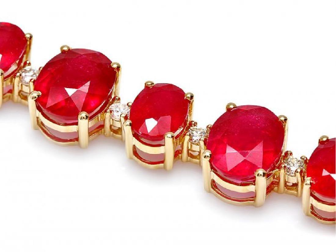 14k Gold 55.00ct Ruby 1.35ct Diamond Bracelet - 2