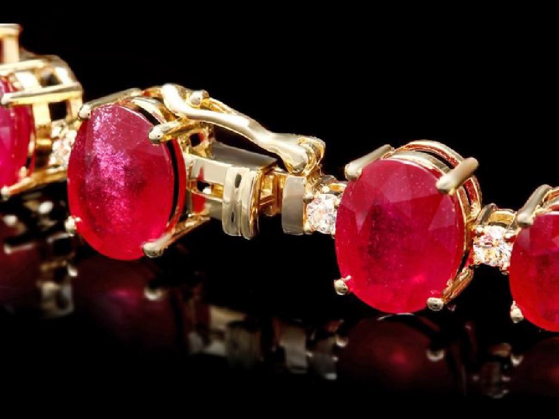 14k Gold 55.00ct Ruby 1.35ct Diamond Bracelet - 3