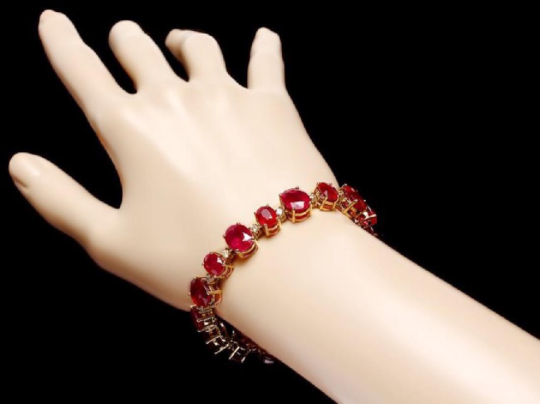 14k Gold 55.00ct Ruby 1.35ct Diamond Bracelet - 5