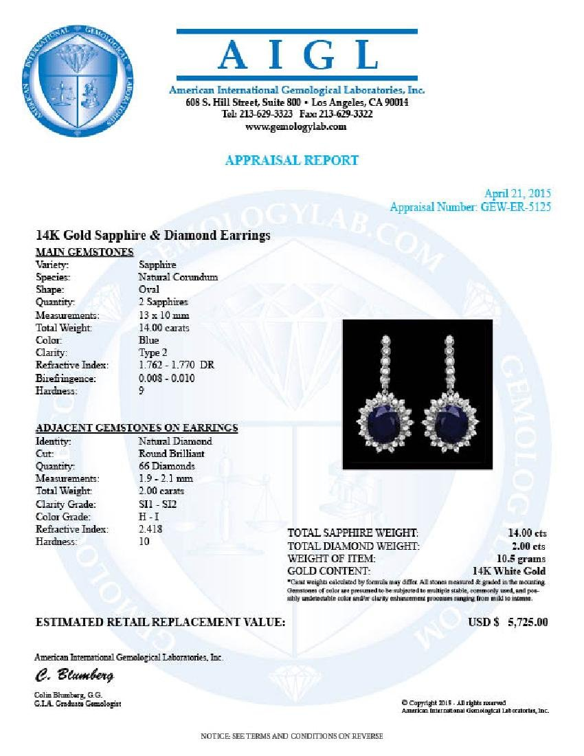 14k Gold 14ct Sapphire 2.00ct Diamond Earrings - 3