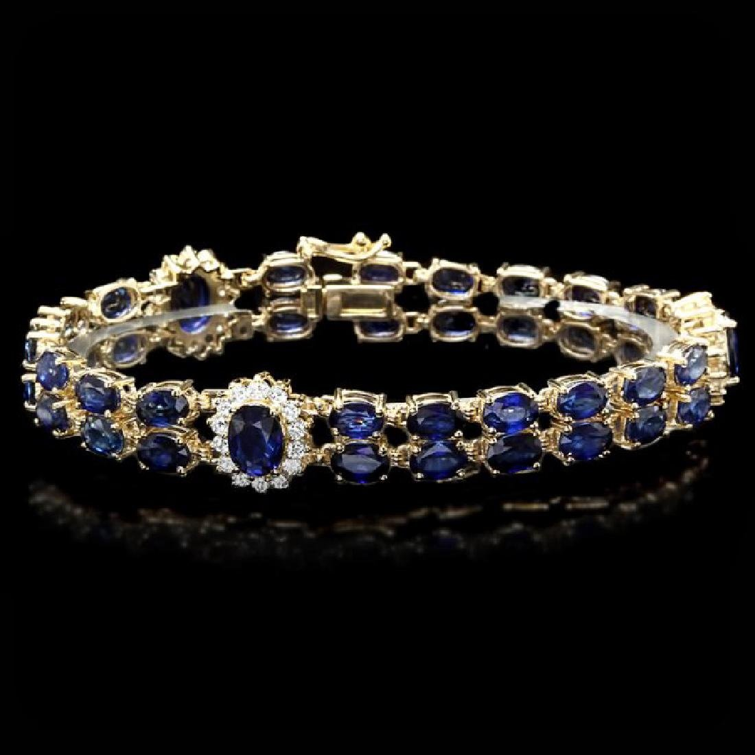 14k Gold 22ct Sapphire 1.50ct Diamond Bracelet - 2