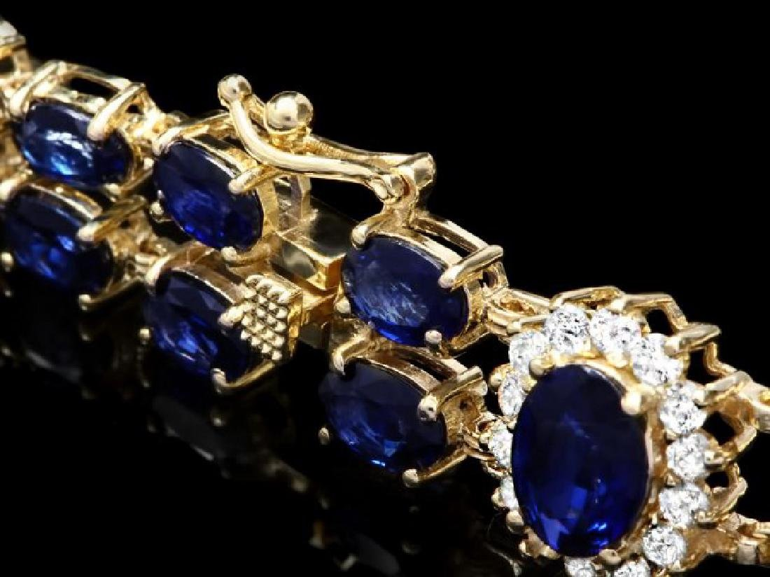 14k Gold 22ct Sapphire 1.50ct Diamond Bracelet - 3