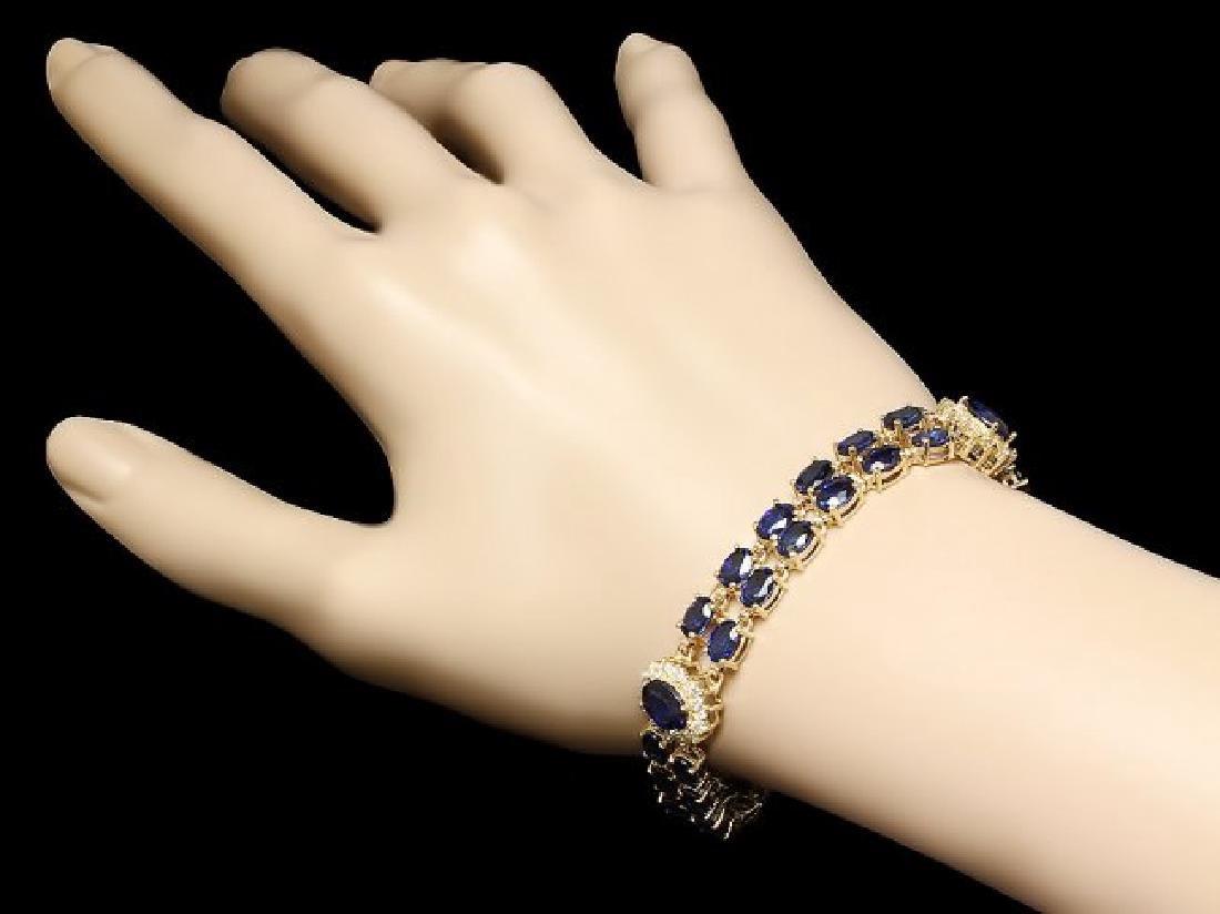 14k Gold 22ct Sapphire 1.50ct Diamond Bracelet - 4