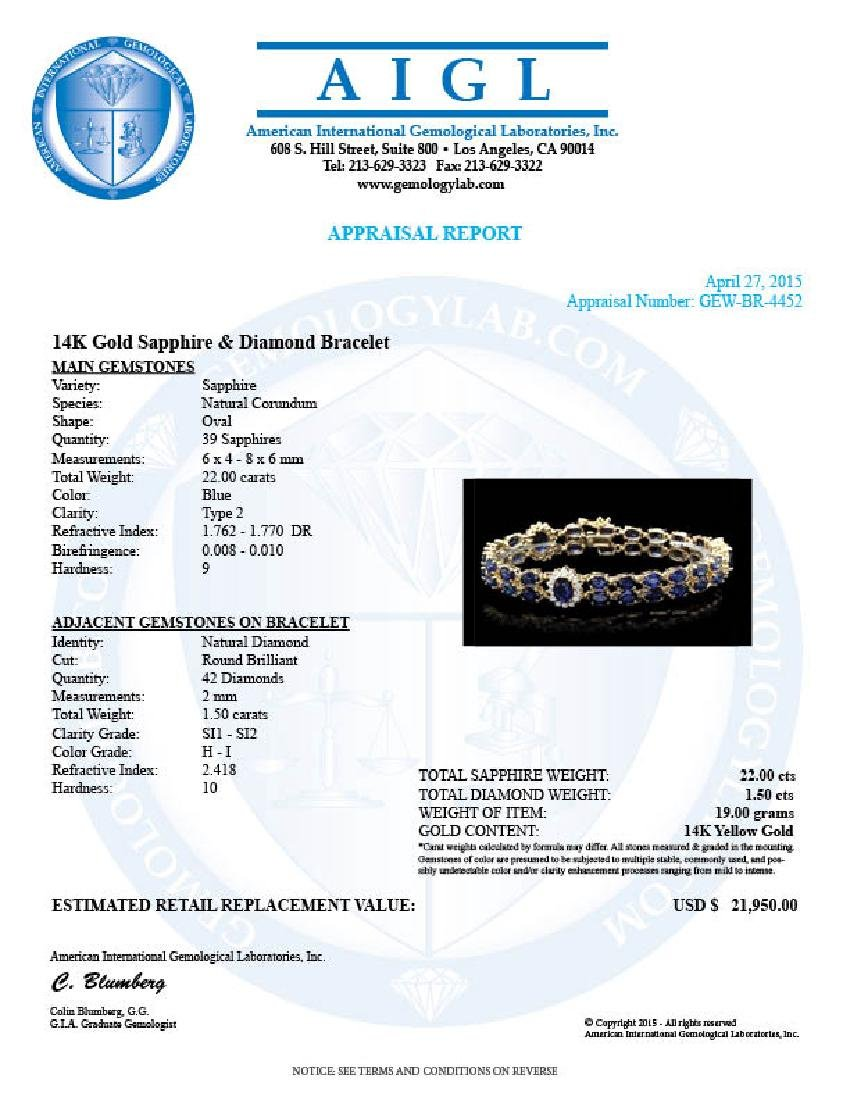 14k Gold 22ct Sapphire 1.50ct Diamond Bracelet - 6