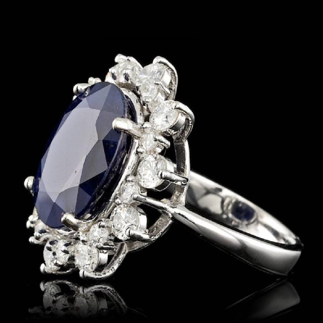 14k Gold 10.00ct Sapphire 1.35ct Diamond Ring - 2