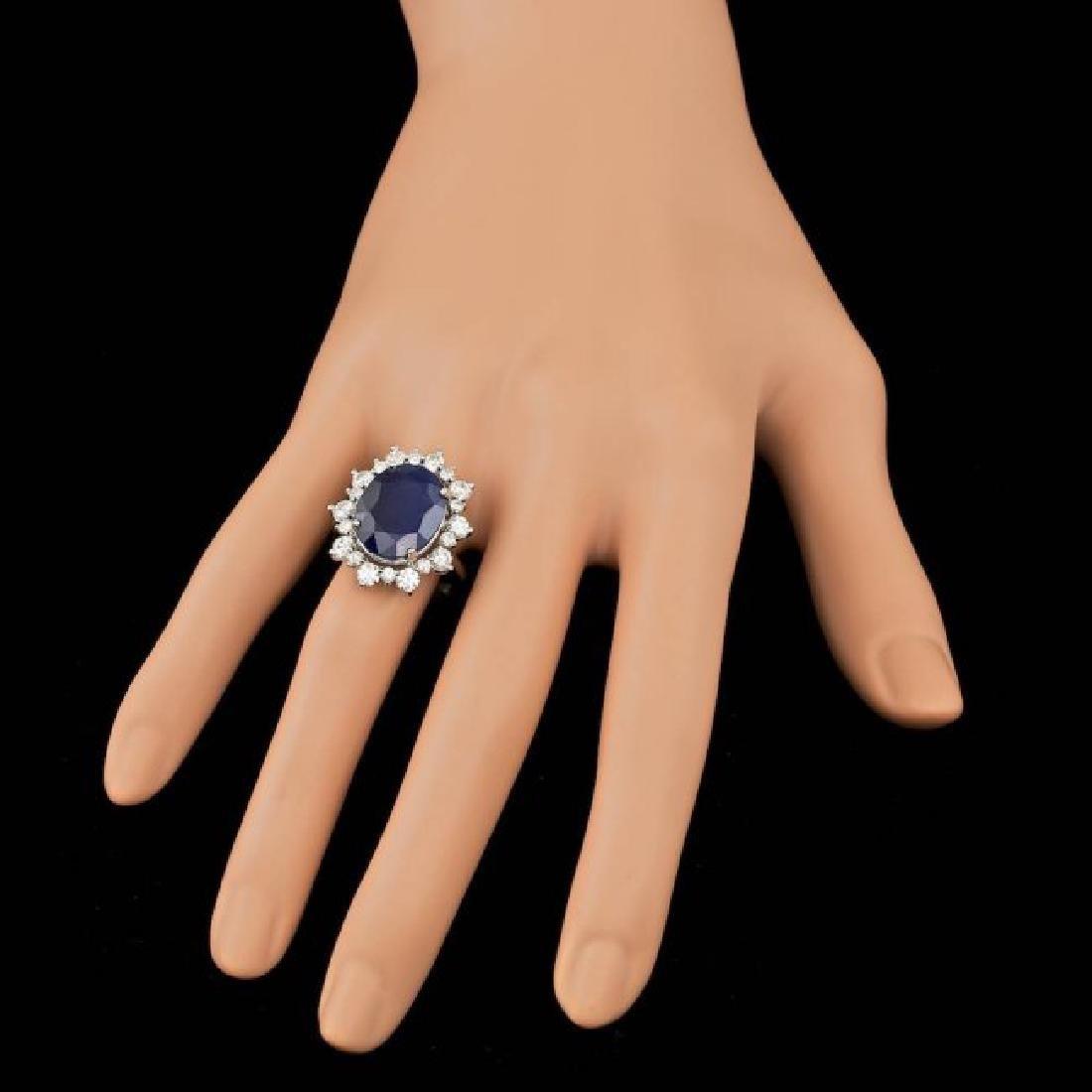 14k Gold 10.00ct Sapphire 1.35ct Diamond Ring - 3