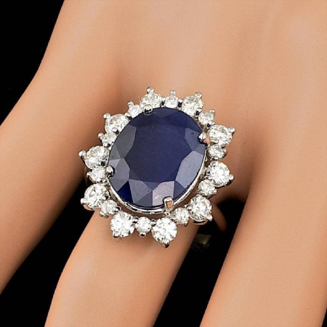 14k Gold 10.00ct Sapphire 1.35ct Diamond Ring - 4