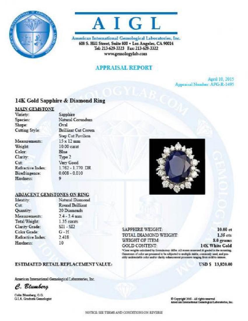14k Gold 10.00ct Sapphire 1.35ct Diamond Ring - 5