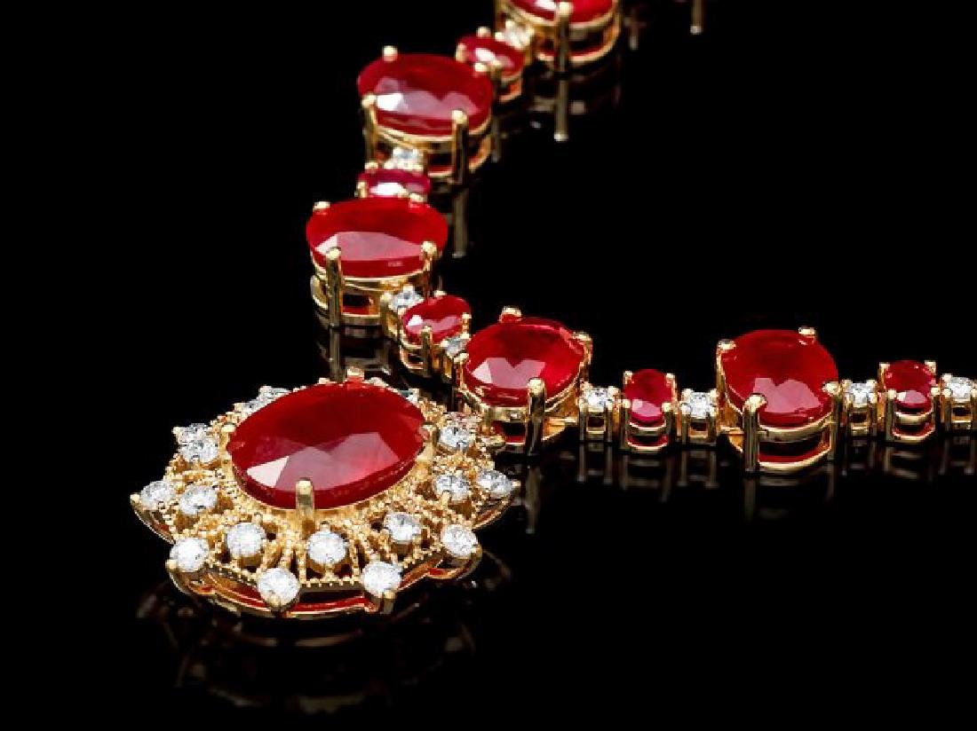 14k Yellow Gold 80ct Ruby 3.00ct Diamond Necklace
