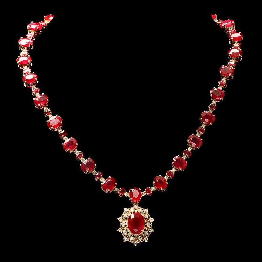 14k Yellow Gold 80ct Ruby 3.00ct Diamond Necklace - 2