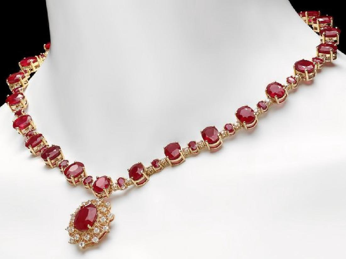 14k Yellow Gold 80ct Ruby 3.00ct Diamond Necklace - 4