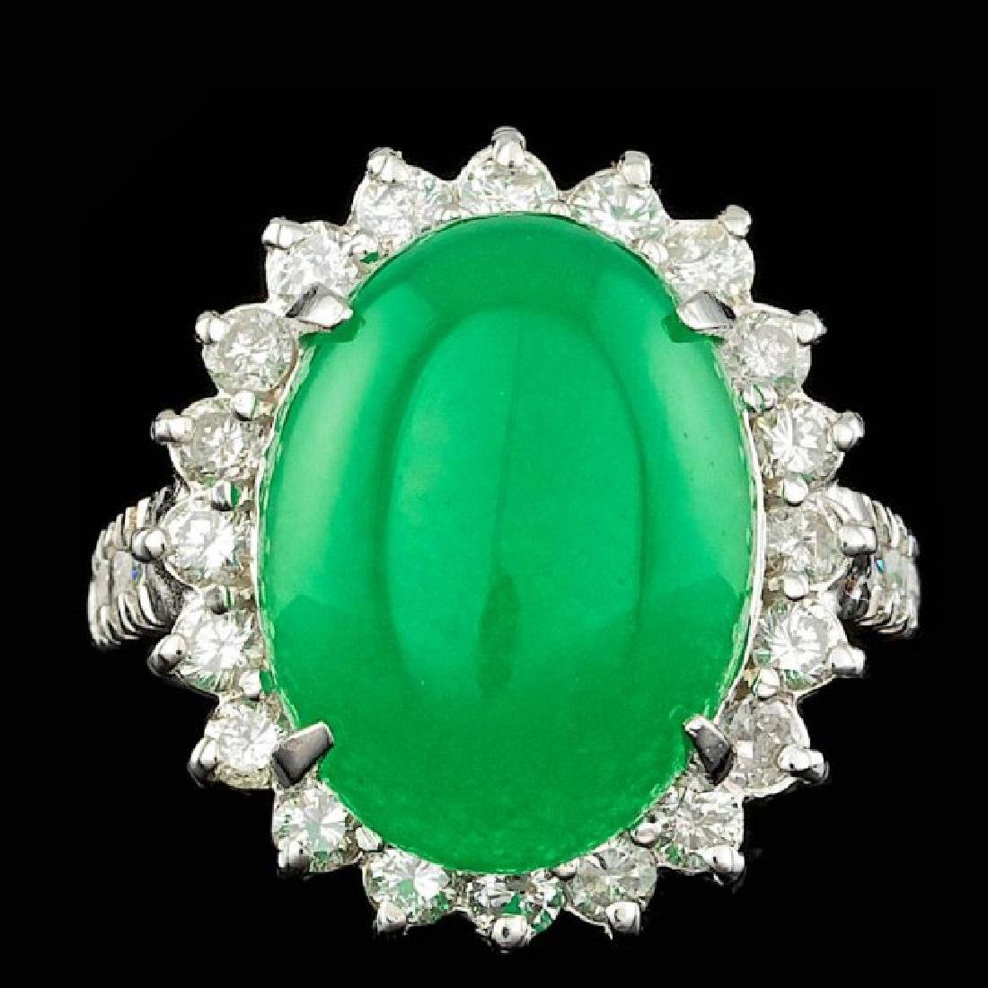 14k White Gold 9.50ct Jade 1.40ct Diamond Ring