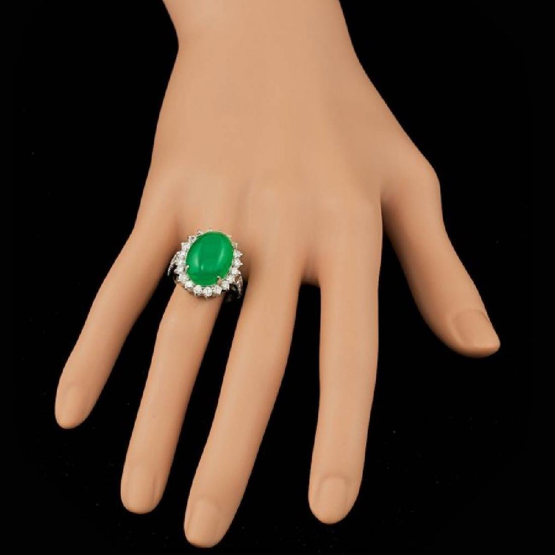 14k White Gold 9.50ct Jade 1.40ct Diamond Ring - 4