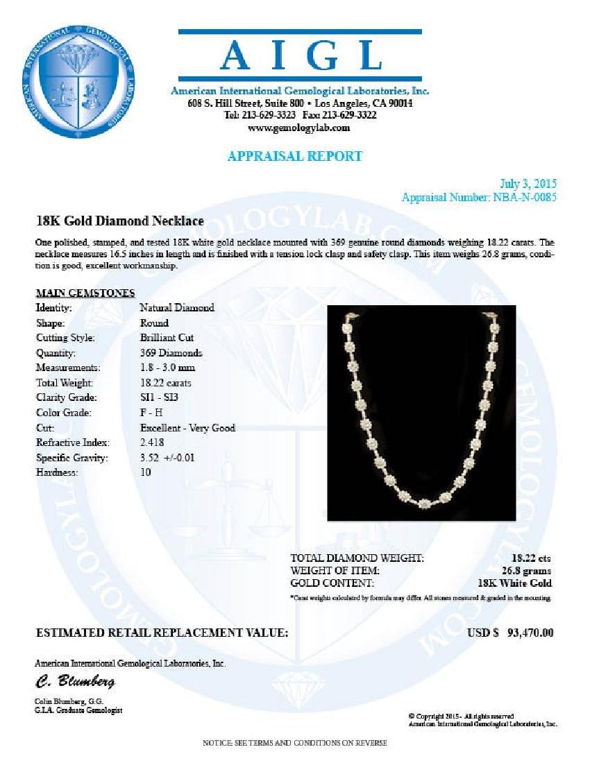 18K Gold 18.22ct Diamond Necklace - 4