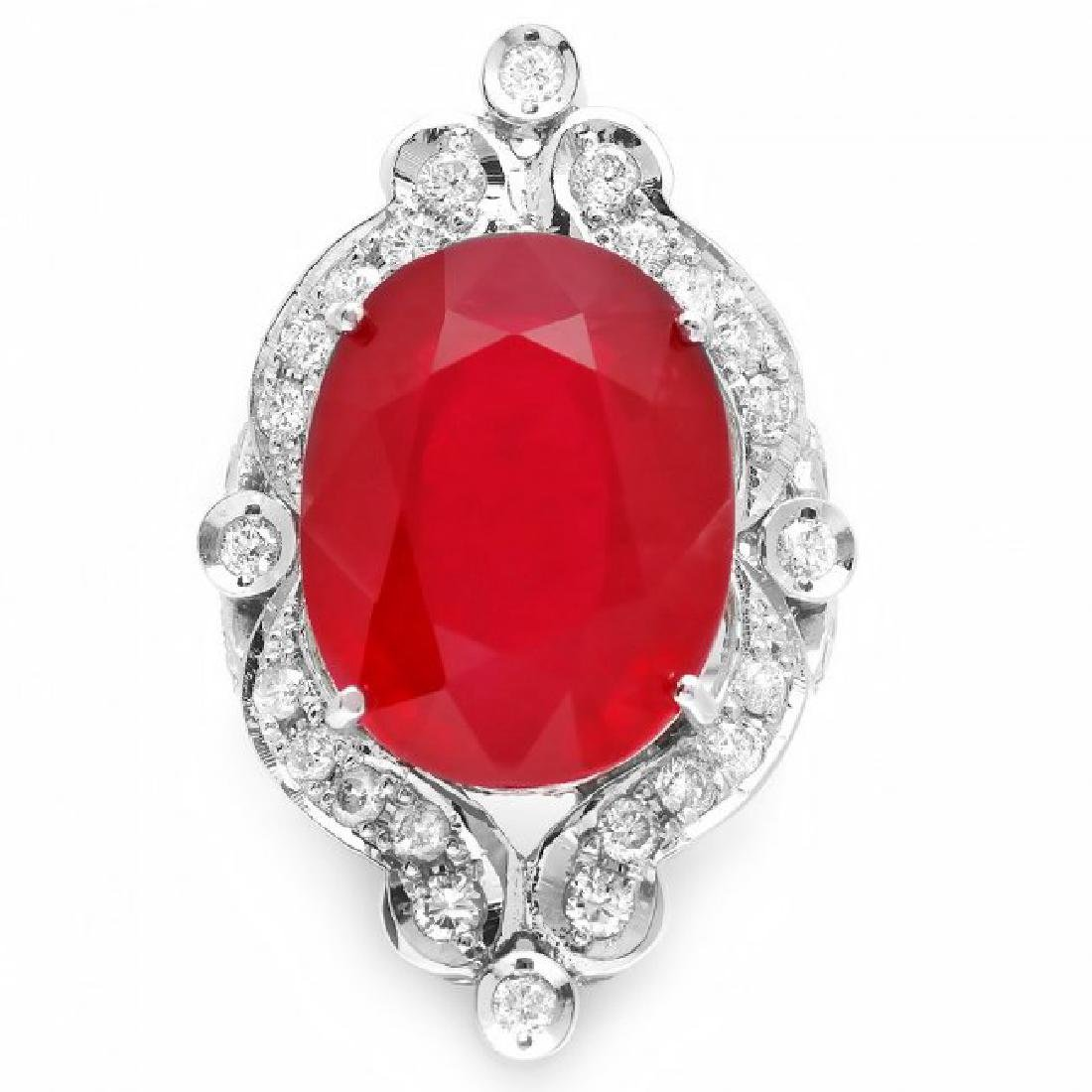 14k White Gold 22.00ct Ruby 1.30ct Diamond Ring