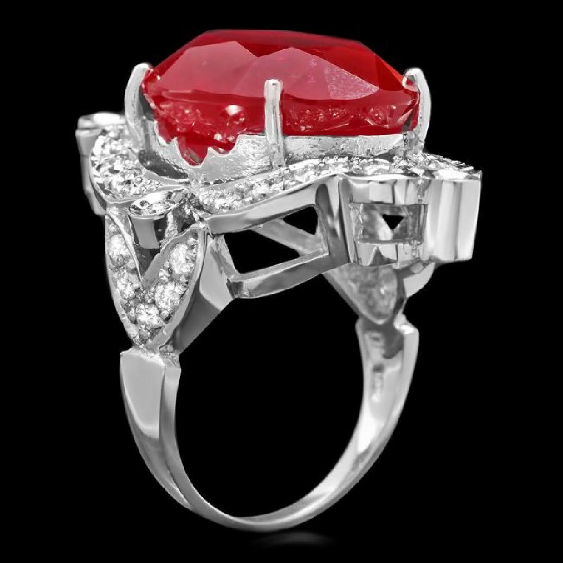 14k White Gold 22.00ct Ruby 1.30ct Diamond Ring - 2