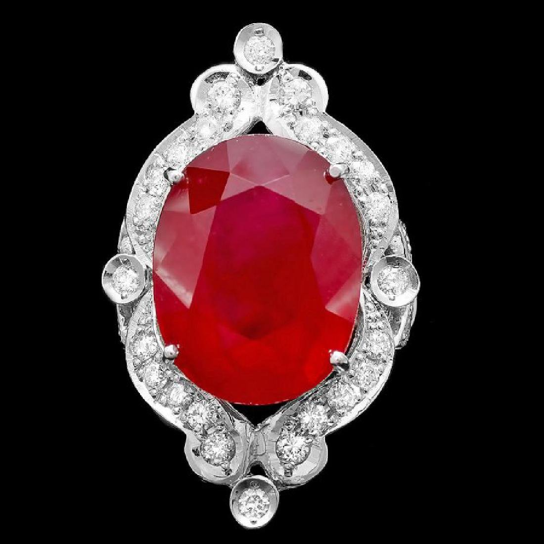 14k White Gold 22.00ct Ruby 1.30ct Diamond Ring - 3