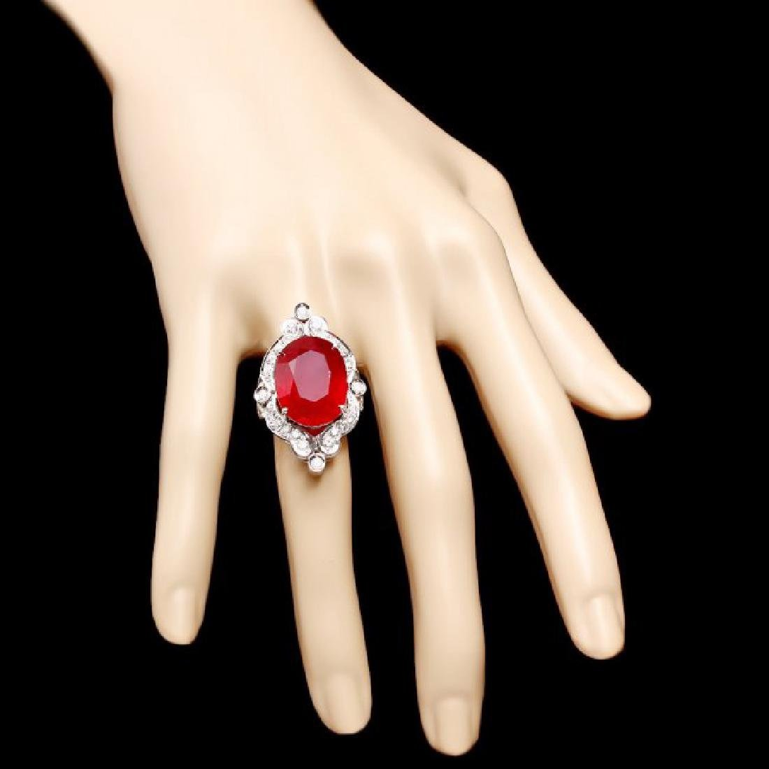 14k White Gold 22.00ct Ruby 1.30ct Diamond Ring - 4