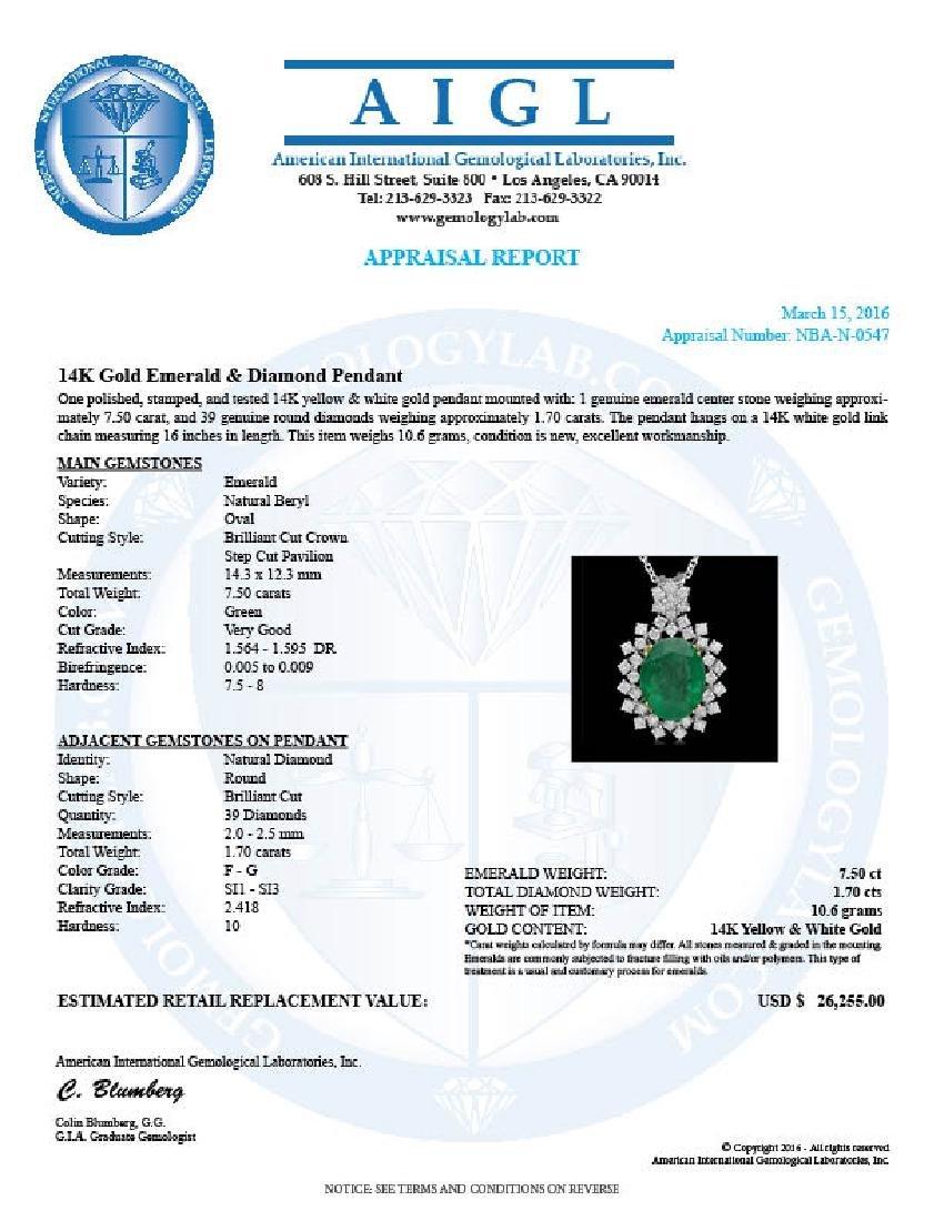 14K Gold 7.50ct Emerald 1.70ct Diamond Pendant - 4