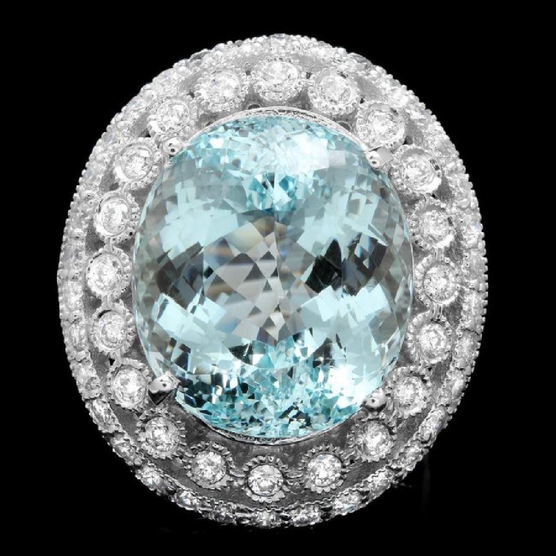 14k Gold 17.50ct Aquamarine 1.90ct Diamond Ring