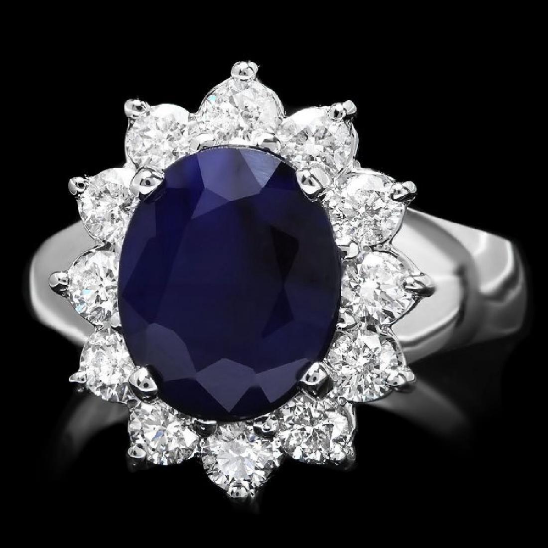 14k Gold 3.50ct Sapphire 1.00ct Diamond Ring