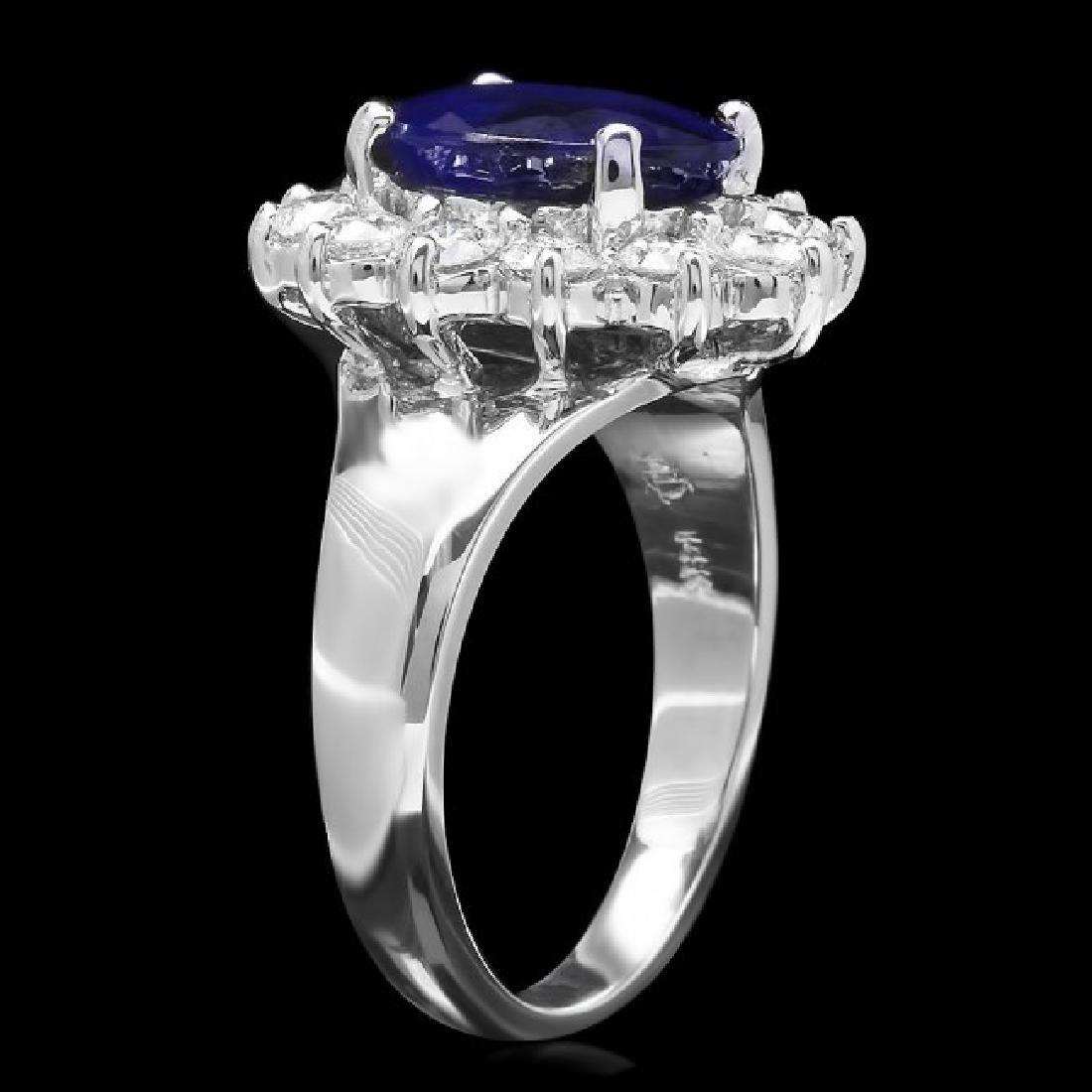 14k Gold 3.50ct Sapphire 1.00ct Diamond Ring - 2