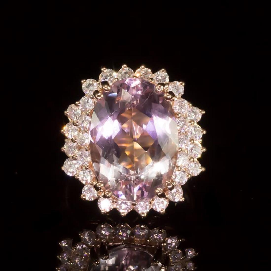 14K Gold 6.99ct Morganite 1.10ct Diamond Ring