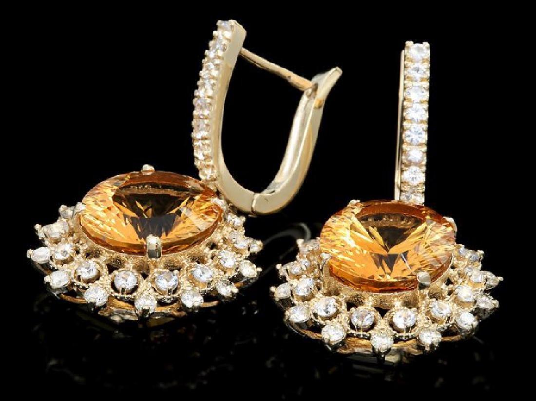 14k Gold 10.00ct Citrine 2.00ct Diamond Earrings - 2