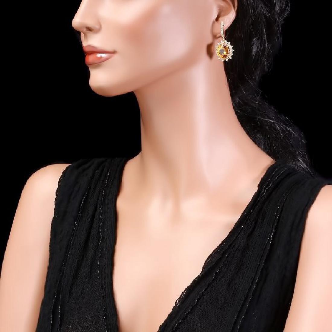 14k Gold 10.00ct Citrine 2.00ct Diamond Earrings - 3